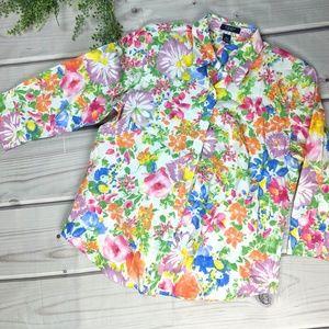 🌿 4/$15 Chaps | Vibrant Floral Button Up